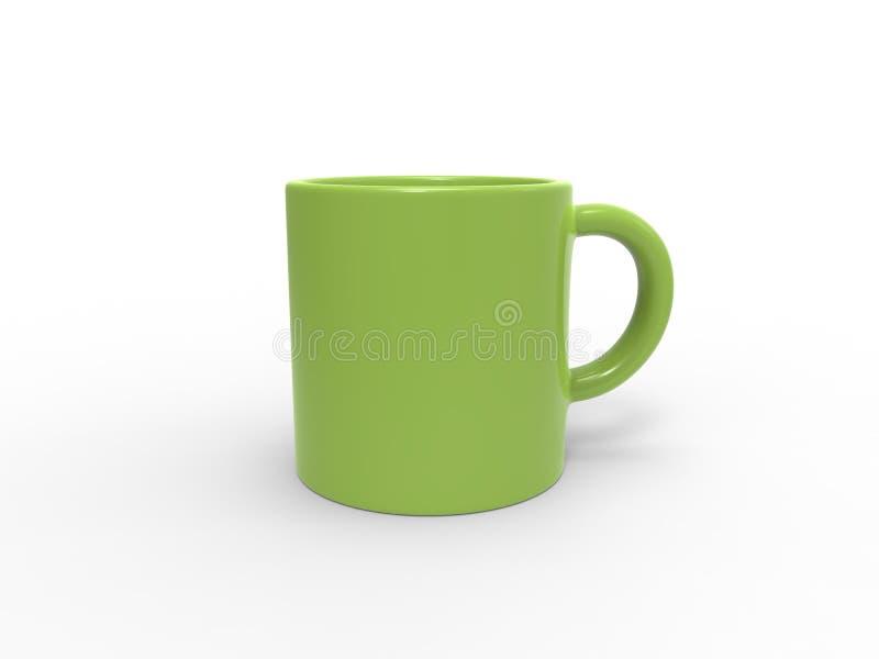 鲜绿色的茶/咖啡杯 皇族释放例证