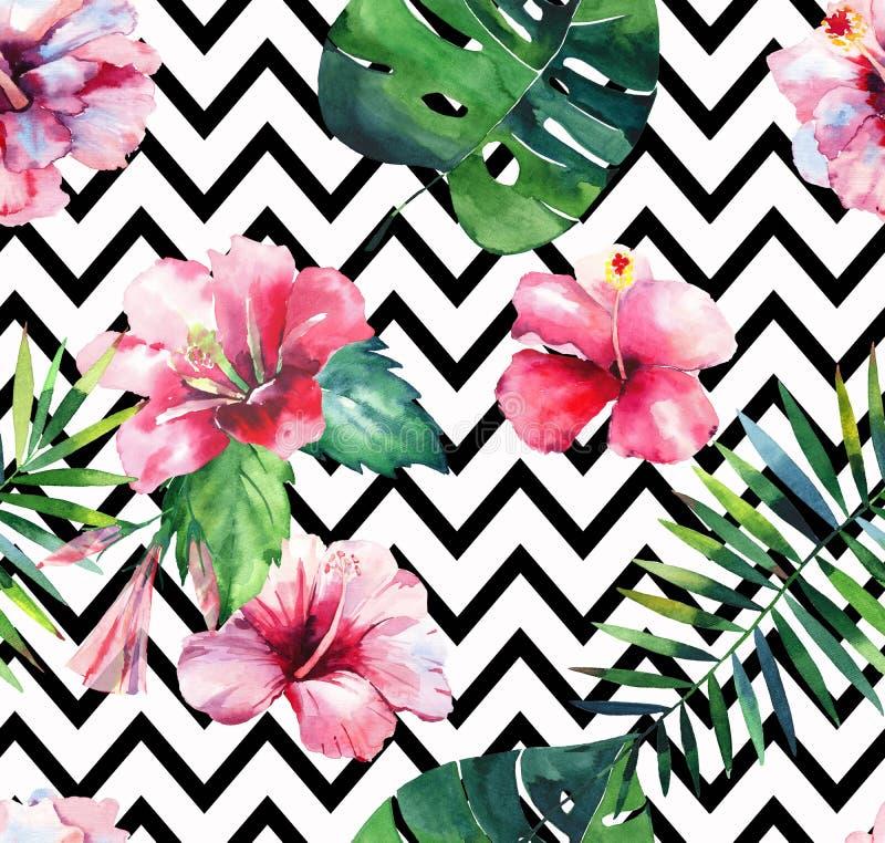 鲜绿色的草本热带夏威夷花卉夏天样式的热带棕榈叶和热带桃红色红色紫罗兰色蓝色花 向量例证