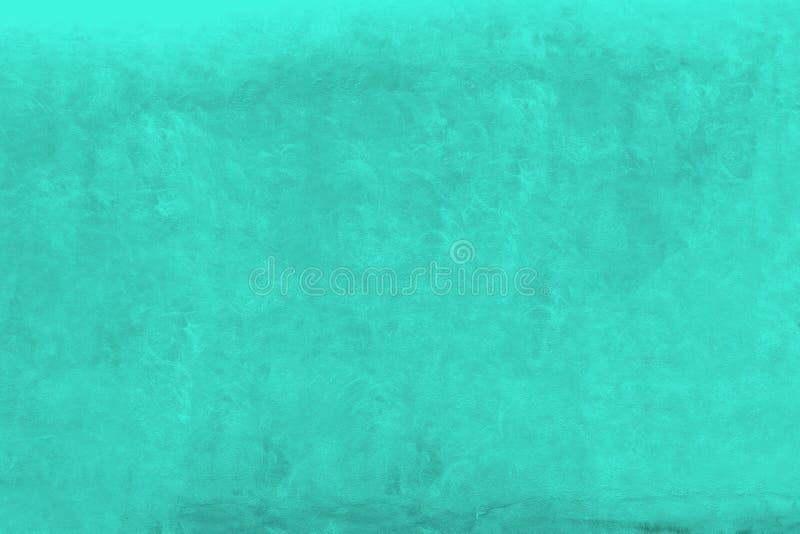 鲜绿色绿松石颜色粗糙的门面墙壁作为空的土气背景 免版税库存图片
