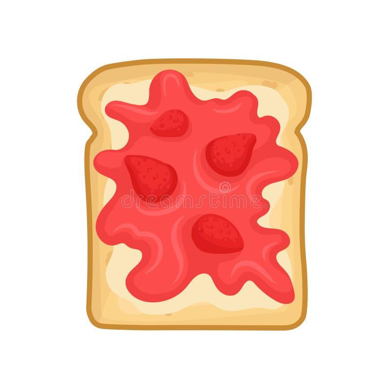 鲜美三明治平的传染媒介象  敬酒的面包草莓酱 早餐或午餐的甜快餐 食物主题 向量例证
