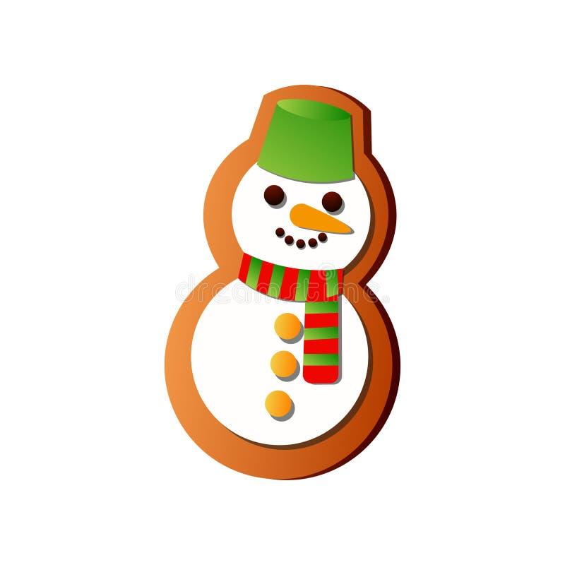 鲜美与绿色桶和五颜六色的围巾的雪人新鲜的姜饼 皇族释放例证