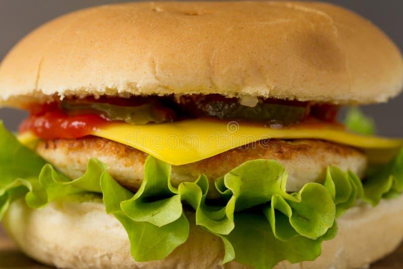 鲜美乳酪汉堡特写镜头 免版税库存照片