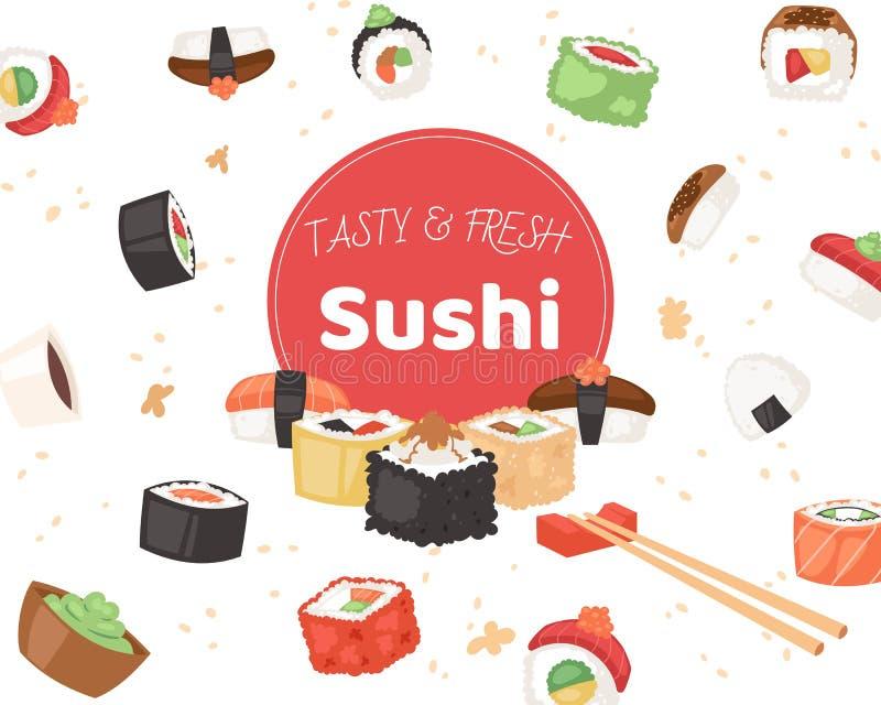 鲜美和新鲜的寿司横幅,海报传染媒介例证 在动画片样式的日本烹调 亚洲食物wirh米 皇族释放例证