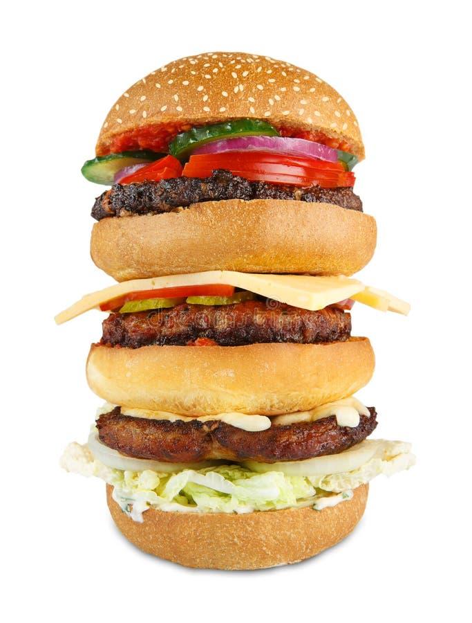 鲜美大汉堡包被隔绝在白色背景 库存图片
