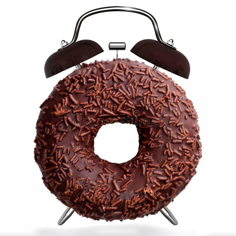 鲜美巧克力多福饼,象闹钟,隔绝在白色背景 免版税库存图片
