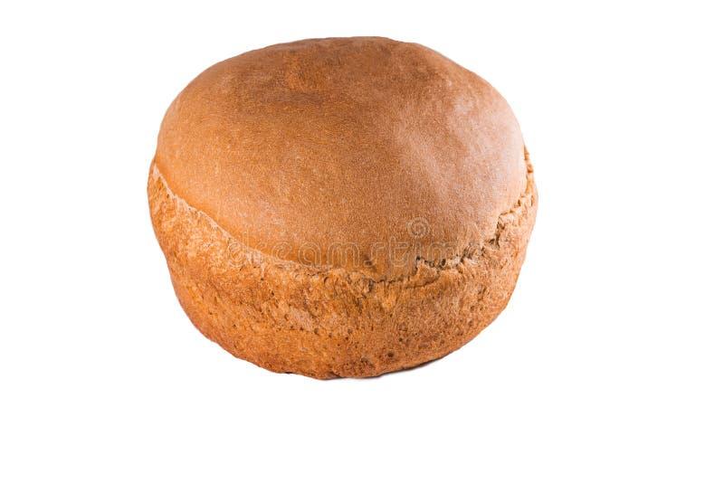 鲜美新鲜的圆的黑麦面包,白色背景,孤立 库存图片