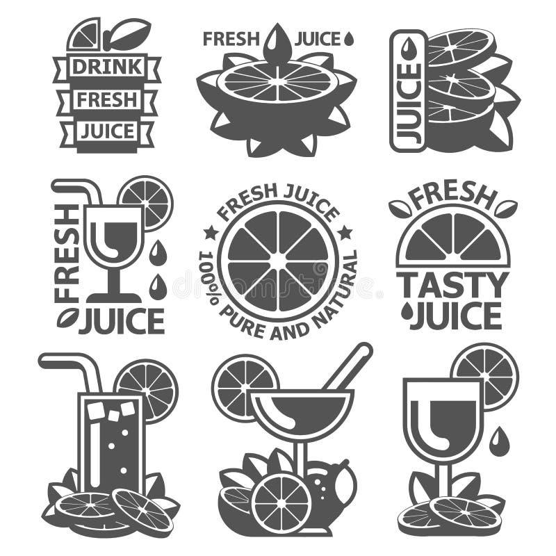 鲜美橙色柠檬葡萄柚汁徽章标签 库存例证