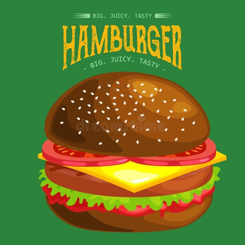 鲜美汉堡烤了牛肉,并且新鲜蔬菜穿戴用在小圆面包的调味汁快餐或午餐的,汉堡包是古典的 皇族释放例证