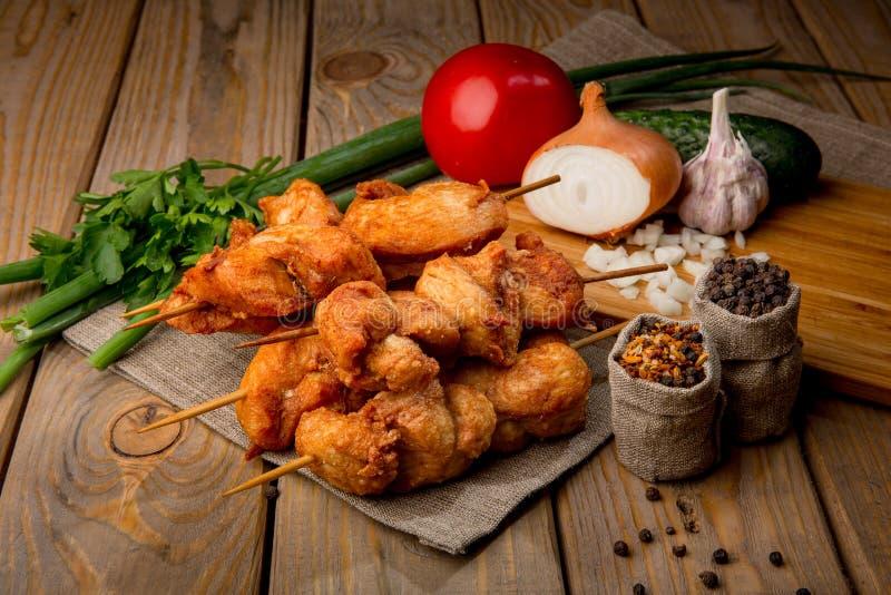 鲜美烤肉的鸡 库存图片