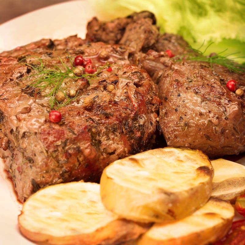 鲜美烤肉 免版税库存照片