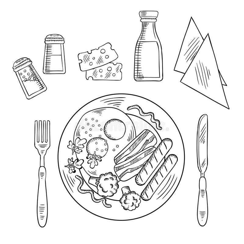 鲜美煮熟的晚餐剪影在板材的 皇族释放例证