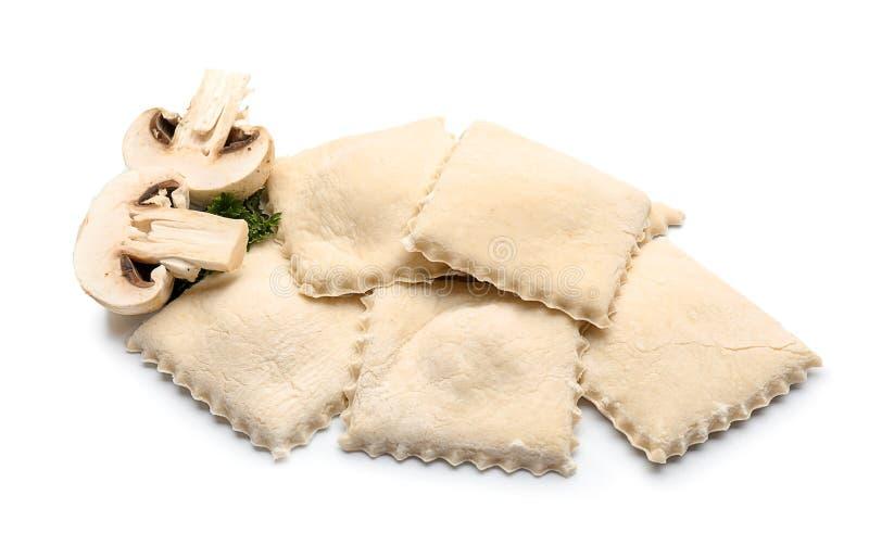 鲜美馄饨用在白色背景的蘑菇 库存图片