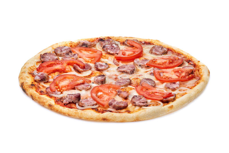 鲜美,美味薄饼用蕃茄,在白色背景和香肠隔绝的乳酪、葱 免版税库存照片