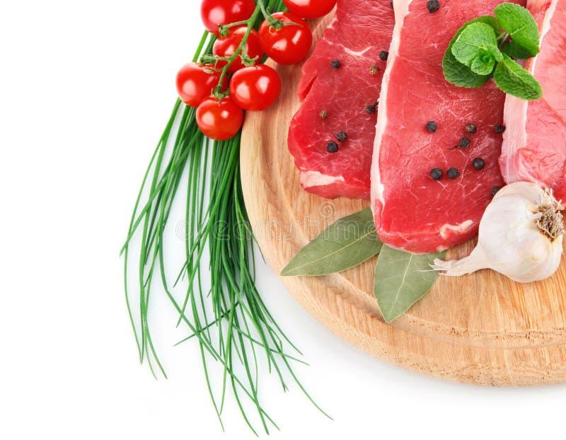 鲜肉未加工的蔬菜 免版税库存照片