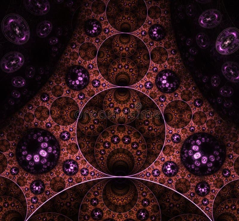 鲜艳色彩的抽象漩涡 计算机с生成分形设计 分形是永无止境的 分形是无限的 向量例证