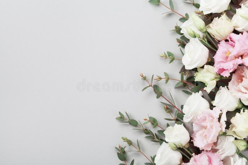 鲜花和绿色玉树在灰色台式视图离开 平的位置样式 库存照片