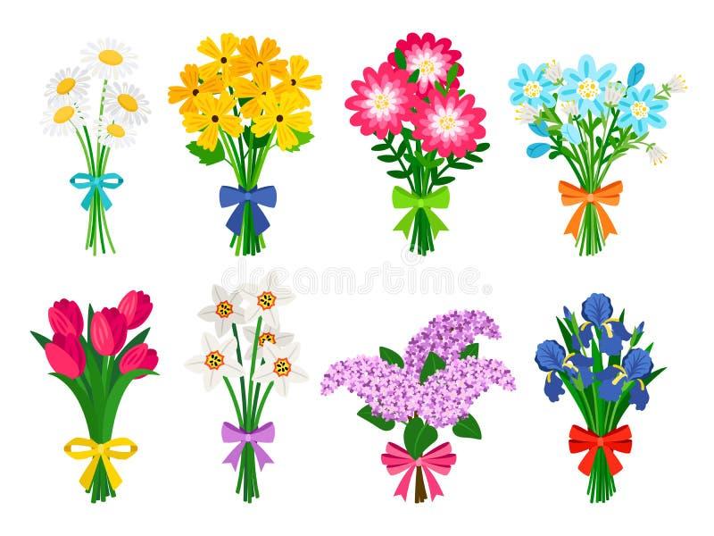 鲜花花束 夏天花束被设置被隔绝的,妇女花礼物,郁金香和雏菊、丁香和黄水仙反弹 向量例证