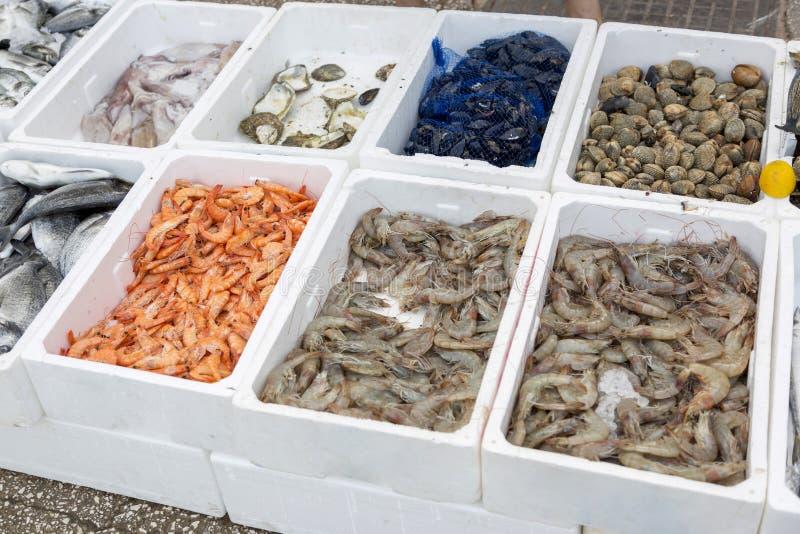 鲜鱼和海鲜在布德瓦市场上在黑山 免版税库存图片