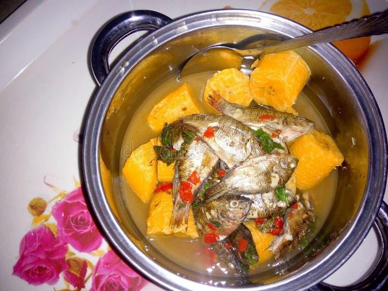 鲜鱼炖与煮沸的大蕉 免版税库存图片