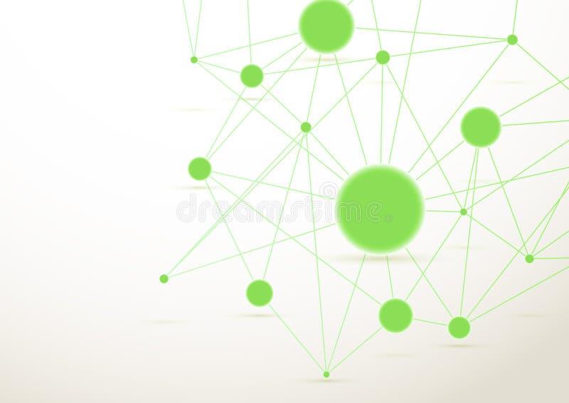 鲜绿色的被连接的小点背景 库存例证