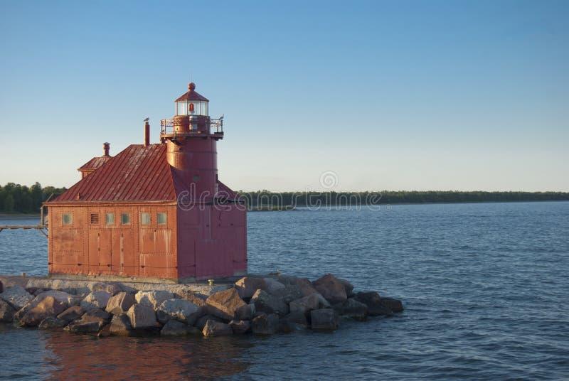 鲟鱼海湾运河北部Pierhead灯塔 库存图片