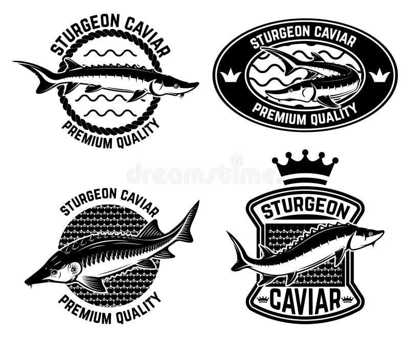 鲟鱼鱼子酱标签模板 设计商标的,标签,象征,标志,海报元素 向量例证