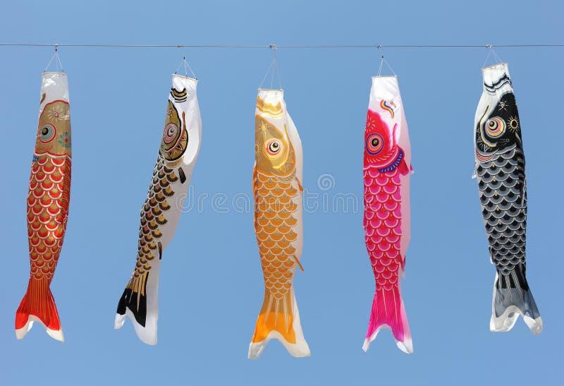 鲤鱼日本人风筝 免版税库存照片