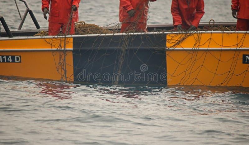 鲨鱼'S委员会、新生德班、的夸祖鲁,南非-新生鲨鱼黑和黄色充气救生艇接近的看法'S委员会 免版税库存照片