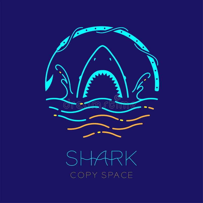 鲨鱼、波浪、水飞溅和鱼叉塑造,商标象概述冲程集合破折号线设计例证 库存例证