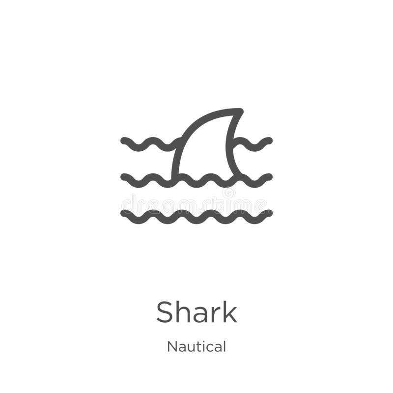 鲨鱼从船舶收藏的象传染媒介 稀薄的线鲨鱼概述象传染媒介例证 概述,稀薄的线鲨鱼象为 向量例证