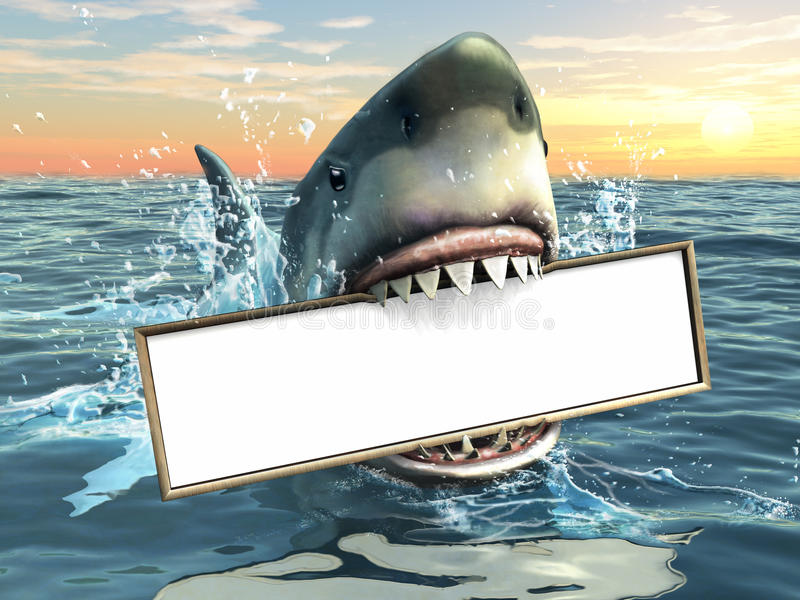 鲨鱼做广告 向量例证