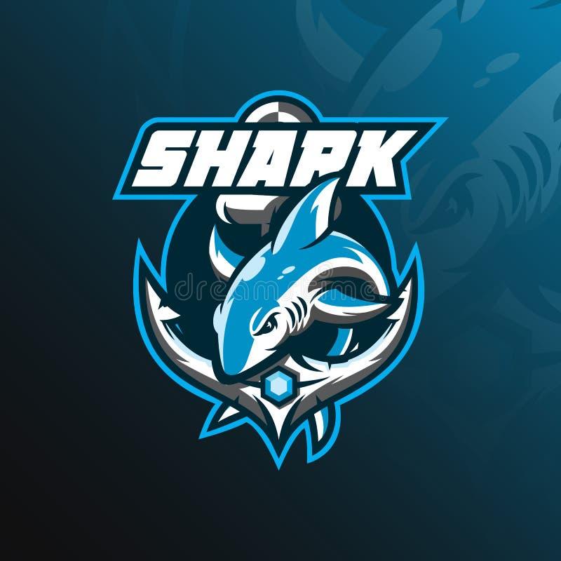 鲨鱼吉祥人商标与现代例证概念样式的设计传染媒介徽章、象征和T恤杉打印的 跳跃的鲨鱼illust 库存例证