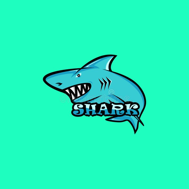 鲨鱼吉祥人商标 鲨鱼商标 库存例证