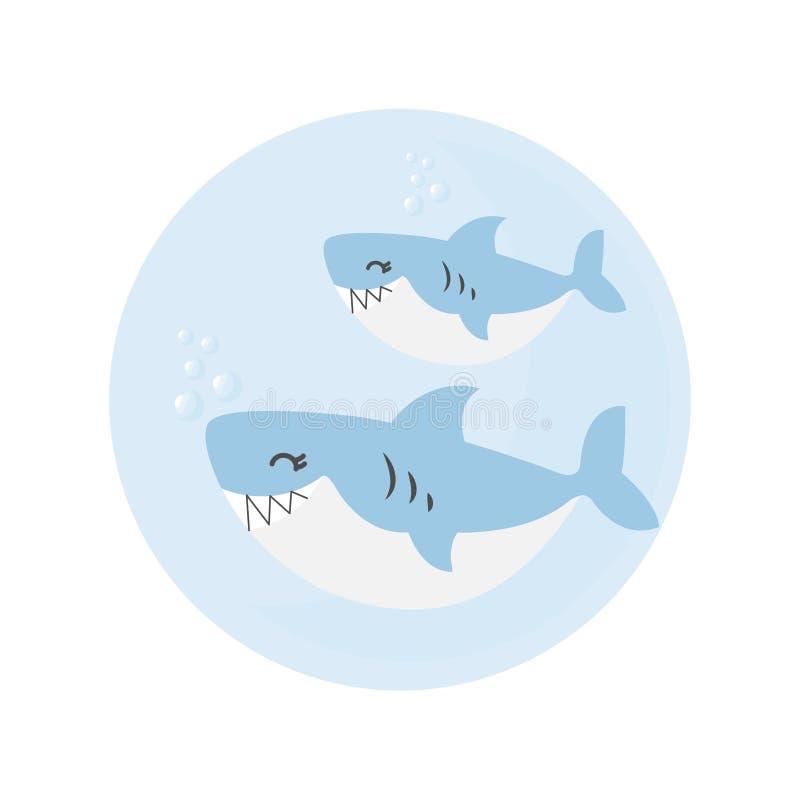 鲨鱼和婴孩鲨鱼动画片 库存例证