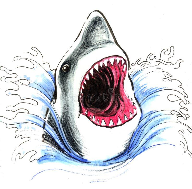 鲨鱼在海洋 皇族释放例证