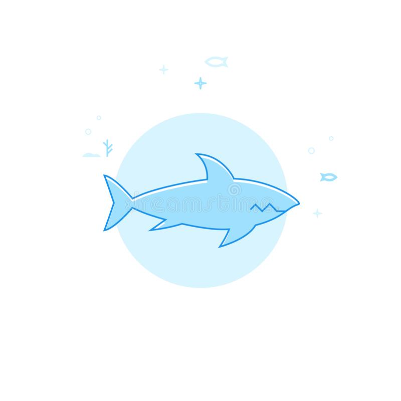 鲨鱼平的传染媒介例证,象 浅兰的单色设计 编辑可能的冲程 向量例证
