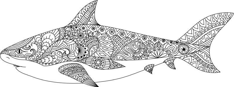 鲨鱼彩图的线艺术设计成人、纹身花刺、T恤杉设计和其他装饰的 库存例证
