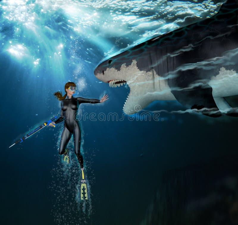 鲨鱼攻击女性轻潜水员 皇族释放例证