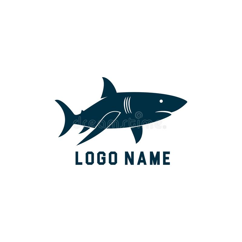 鲨鱼最低纲领派剪影商标设计 鲨鱼剪影传染媒介例证有白色背景 库存例证