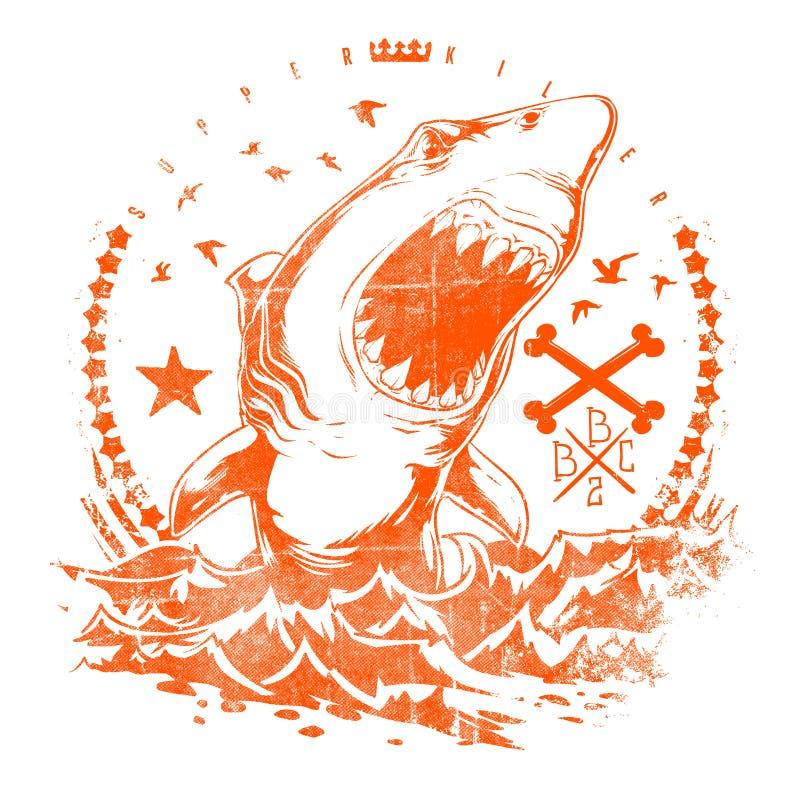 鲨鱼波浪 库存例证