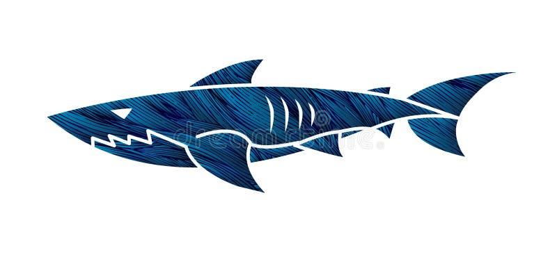 鲨鱼游泳动画片例证 皇族释放例证