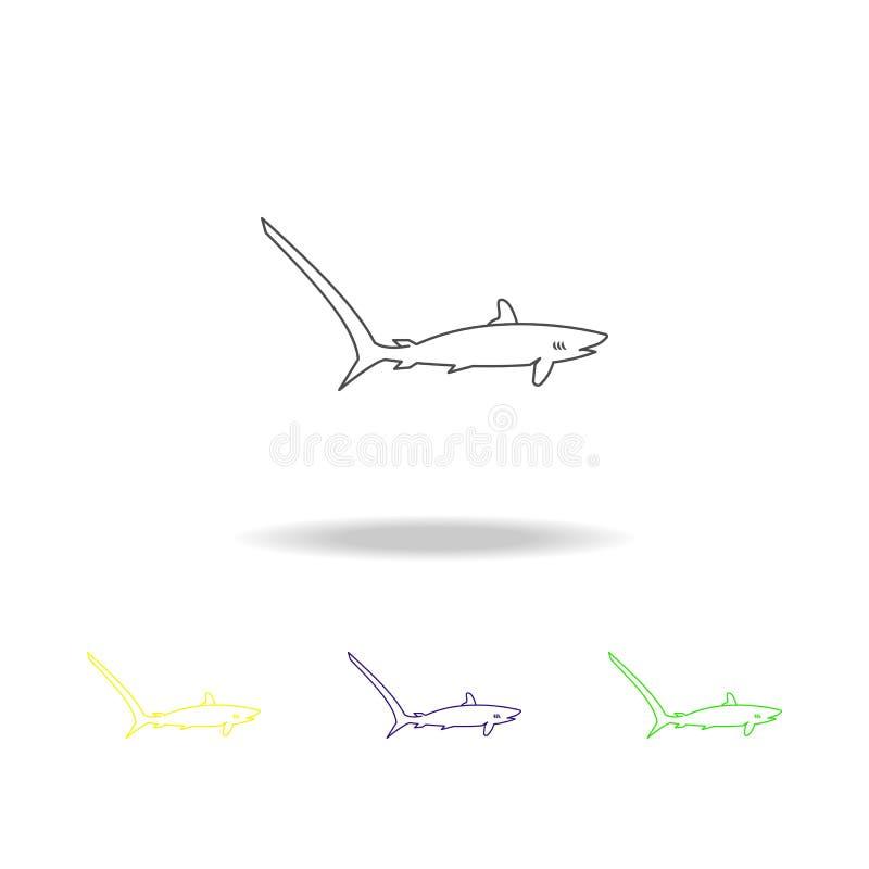 鲨鱼狐狸多彩多姿的象 普遍的海洋动物象的元素 优质质量图形设计概述象 签署符号 向量例证