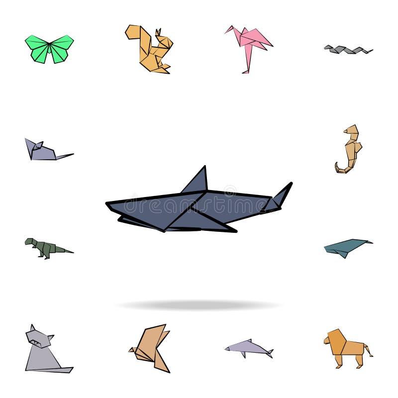 鲨鱼色的origami象 详细的套origami动物手中拉长的样式象 优质图形设计 一  向量例证