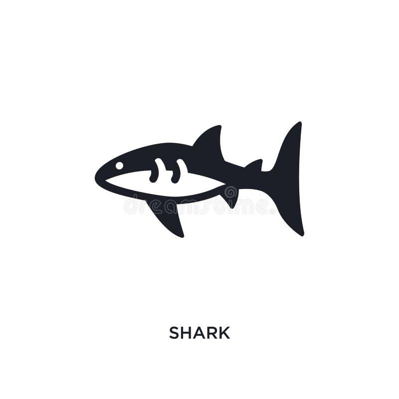 鲨鱼被隔绝的象 从船舶概念象的简单的元素例证 在白色的鲨鱼编辑可能的商标标志标志设计 向量例证