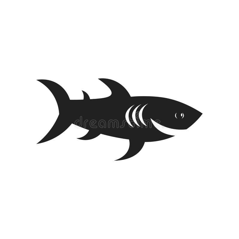鲨鱼象在白色背景和标志隔绝的传染媒介标志,鲨鱼商标概念 皇族释放例证