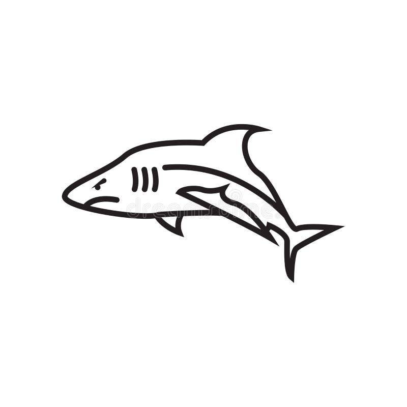 鲨鱼象在白色背景和标志隔绝的传染媒介标志 库存例证