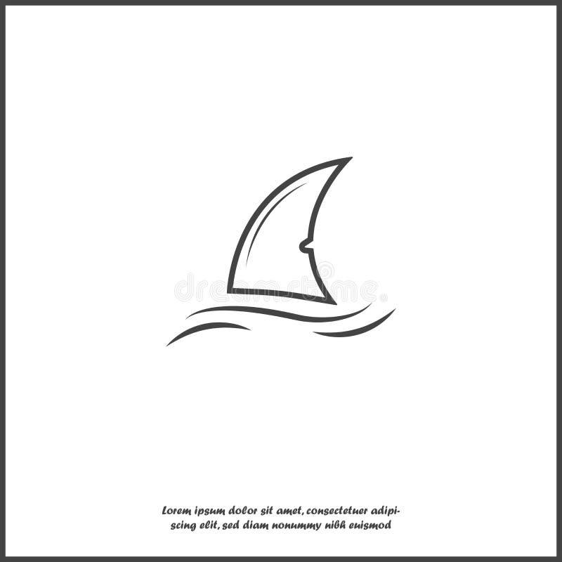 鲨鱼飞翅传染媒介象 飞翅在白色被隔绝的背景的水中 库存例证
