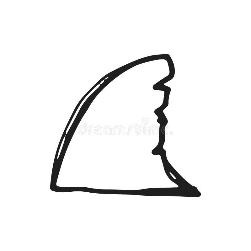 鲨鱼飞翅象在白色背景隔绝的传染媒介剪影 库存例证