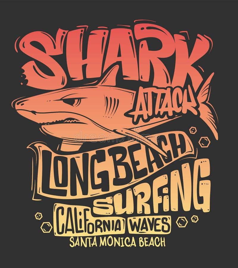 鲨鱼T恤杉海浪印刷品设计,传染媒介例证 向量例证