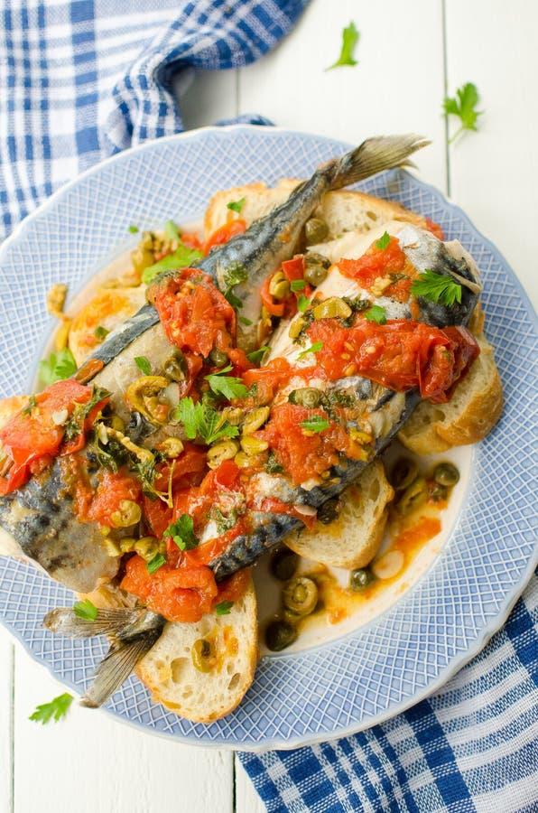 鲭鱼地中海样式 库存图片